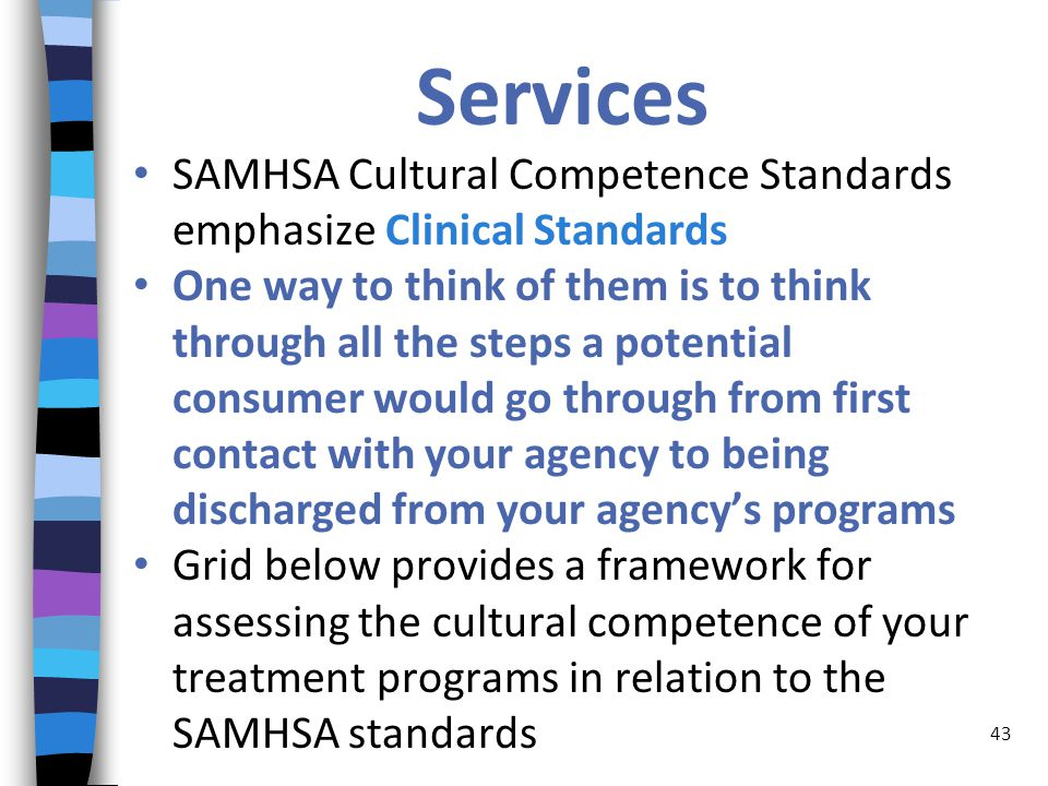 Services SAMHSA Cultural Competence Standards emphasize Clinical Standards One way to think of them is to think through all the steps a potential consumer would go through from first contact with your agency to being discharged from your agency's programs Grid below provides a framework for assessing the cultural competence of your treatment programs in relation to the SAMHSA standards 43