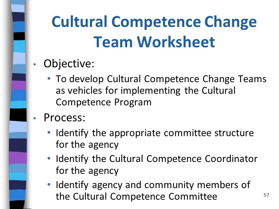 Cultural Competence Change Team Worksheet Objective: To develop Cultural Competence Change Teams as vehicles for implementing the Cultural Competence Program Process: Identify the appropriate committee structure for the agency Identify the Cultural Competence Coordinator for the agency Identify agency and community members of the Cultural Competence Committee 57