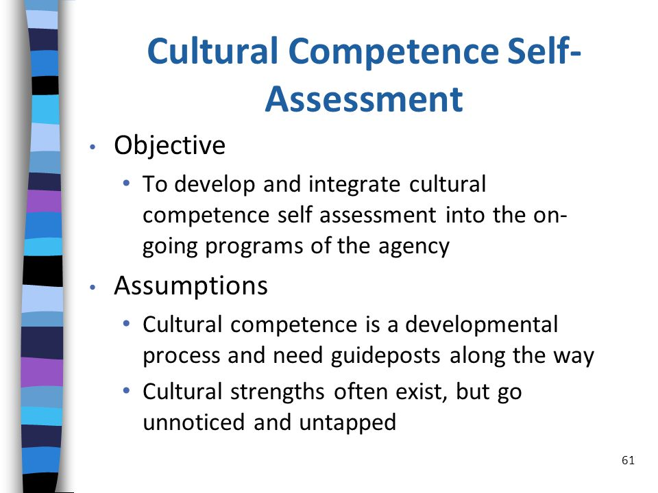 Cultural Competence Self- Assessment Objective To develop and integrate cultural competence self assessment into the on- going programs of the agency Assumptions Cultural competence is a developmental process and need guideposts along the way Cultural strengths often exist, but go unnoticed and untapped 61