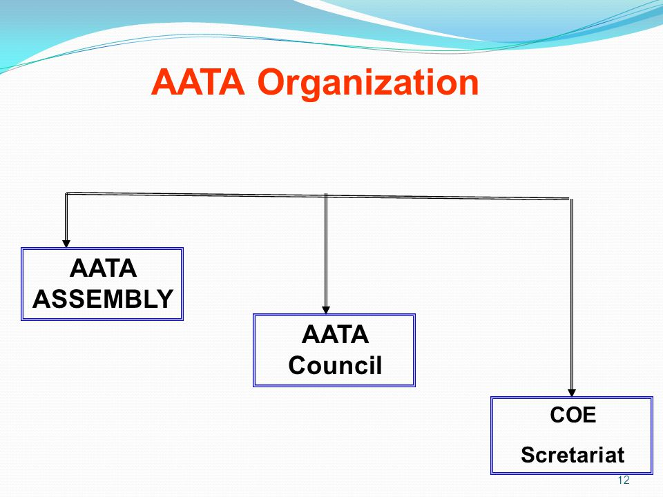 AATA Organization 12 AATA ASSEMBLY AATA Council COE Scretariat