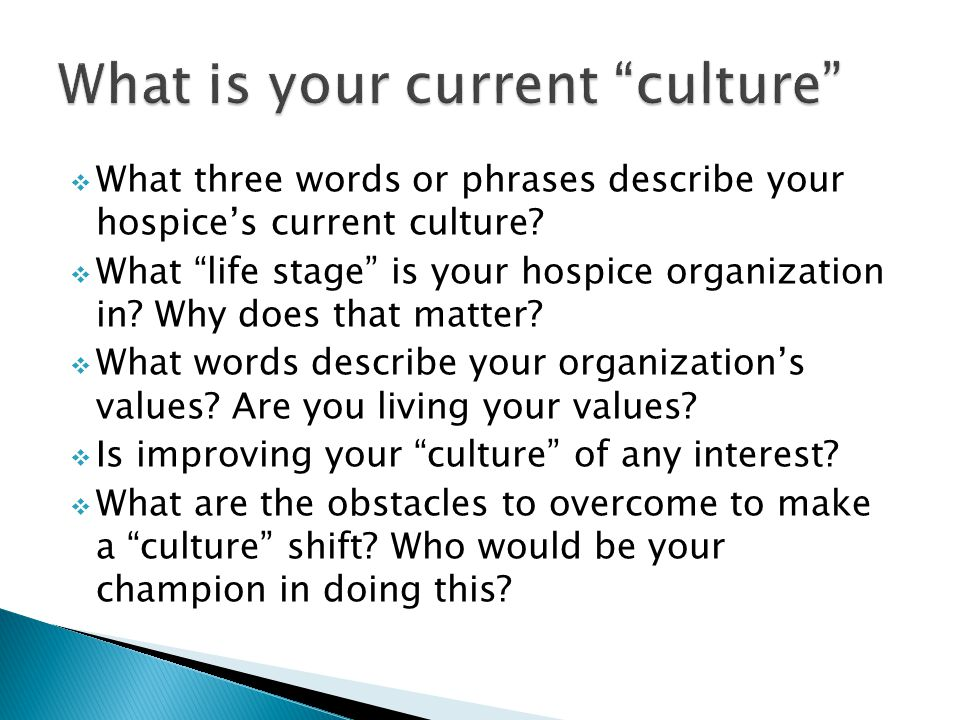  What three words or phrases describe your hospice's current culture.