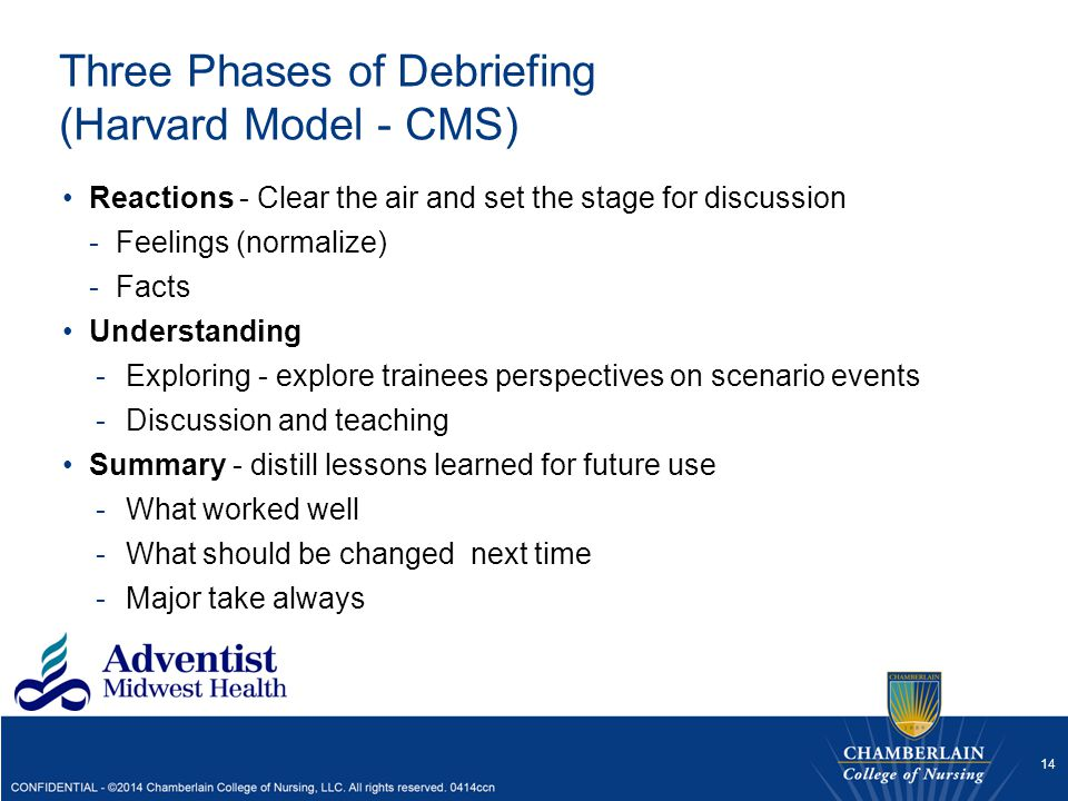 Three Phases of Debriefing (Harvard Model - CMS) Reactions - Clear the air and set the stage for discussion -Feelings (normalize) -Facts Understanding