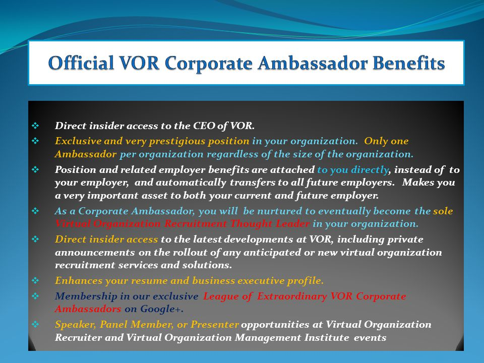  Direct insider access to the CEO of VOR.