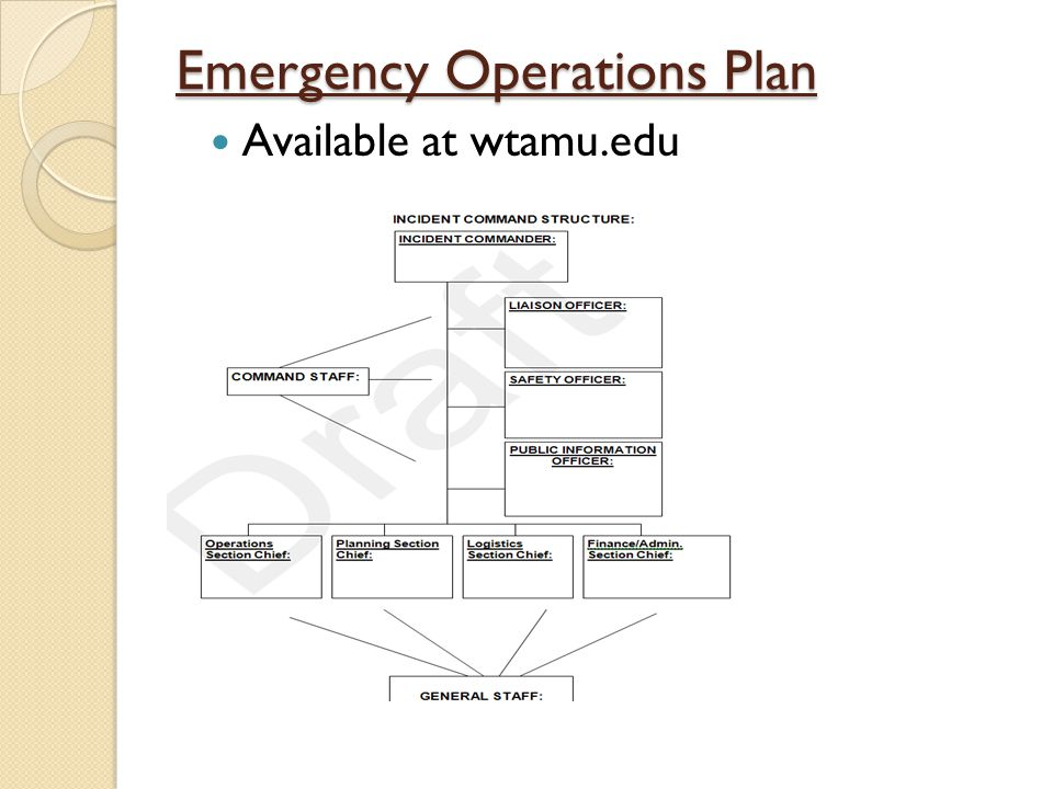 Emergency Operations Plan Available at wtamu.edu