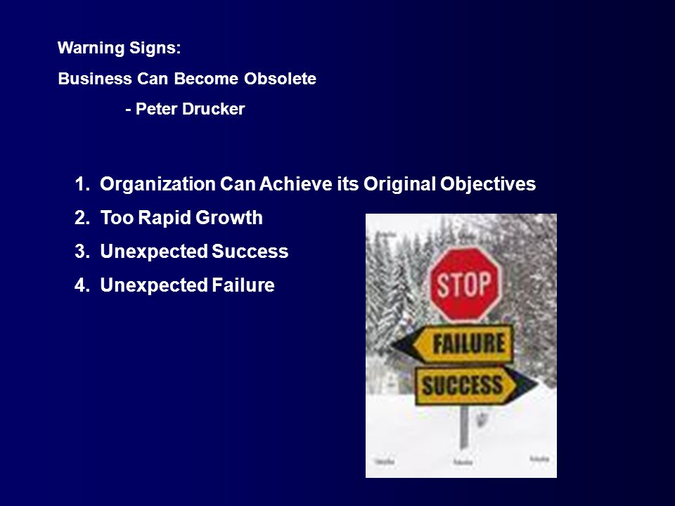 Warning Signs: Business Can Become Obsolete - Peter Drucker 1.Organization Can Achieve its Original Objectives 2.Too Rapid Growth 3.Unexpected Success 4.Unexpected Failure