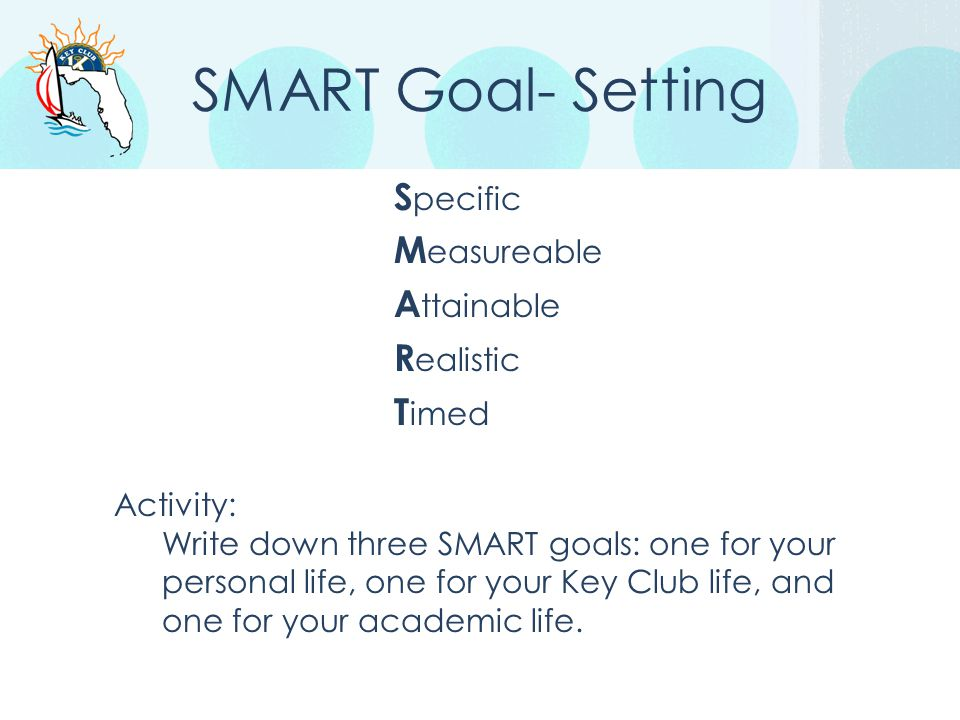 SMART Goal- Setting S pecific M easureable A ttainable R ealistic T imed Activity: Write down three SMART goals: one for your personal life, one for y
