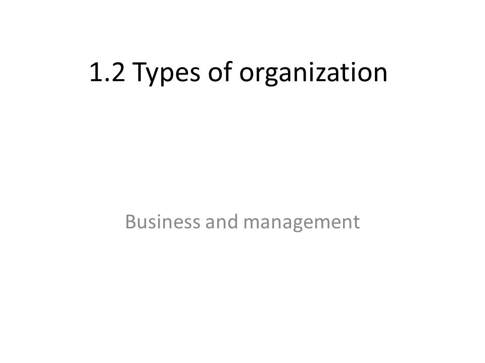 1.2 Types of organization Business and management