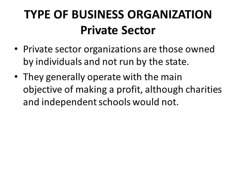TYPE OF BUSINESS ORGANIZATION Private Sector Private sector organizations are those owned by individuals and not run by the state.