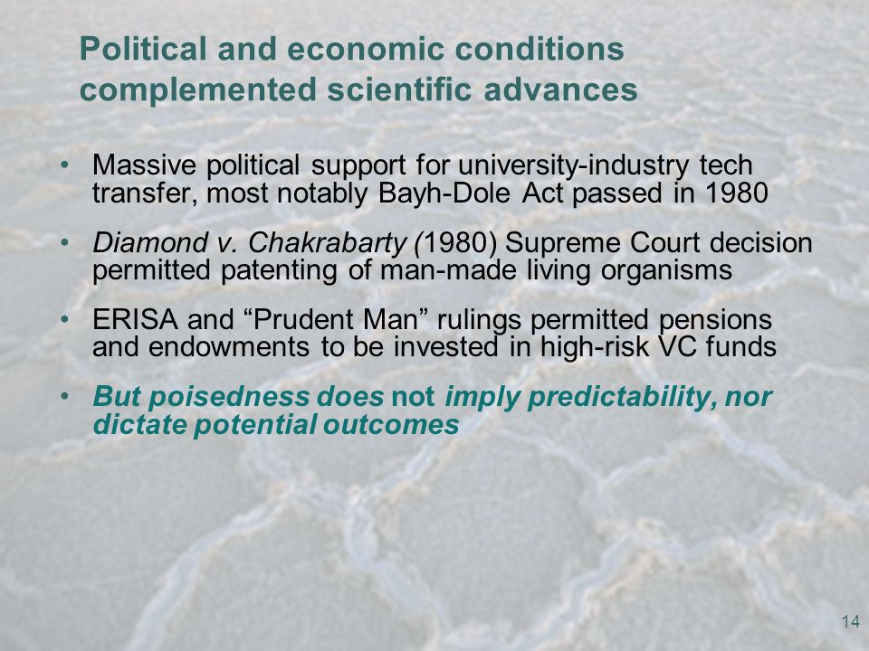 Political and economic conditions complemented scientific advances Massive political support for university-industry tech transfer, most notably Bayh-Dole Act passed in 1980 Diamond v.