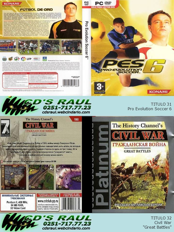 TITULO 32 Civil War Great Battles TITULO 31 Pro Evolution Soccer 6