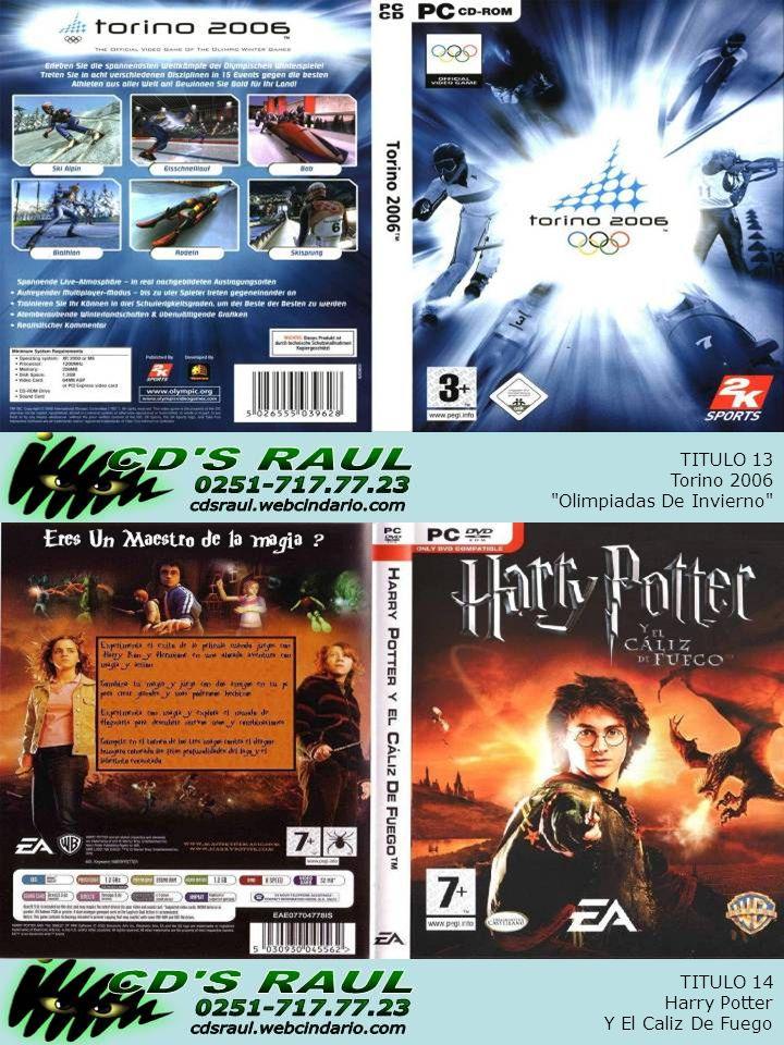 TITULO 14 Harry Potter Y El Caliz De Fuego TITULO 13 Torino 2006 Olimpiadas De Invierno
