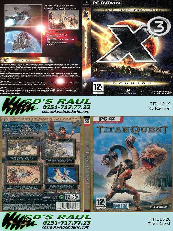 TITULO 20 Titan Quest TITULO 19 X3 Reunion
