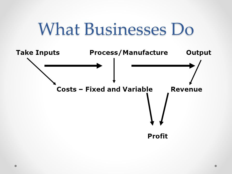 What Businesses Do Take InputsProcess/ManufactureOutput Costs – Fixed and VariableRevenue Profit