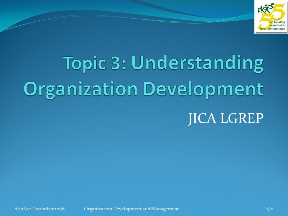 References Handout on Organization Development, PRRM North Cotabato, 1996.