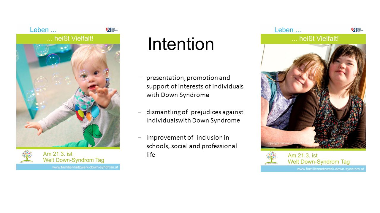 Intention  presentation, promotion and support of interests of individuals with Down Syndrome  dismantling of prejudices against individualswith Down Syndrome  improvement of inclusion in schools, social and professional life