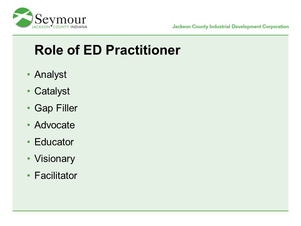 Role of ED Practitioner Analyst Catalyst Gap Filler Advocate Educator Visionary Facilitator