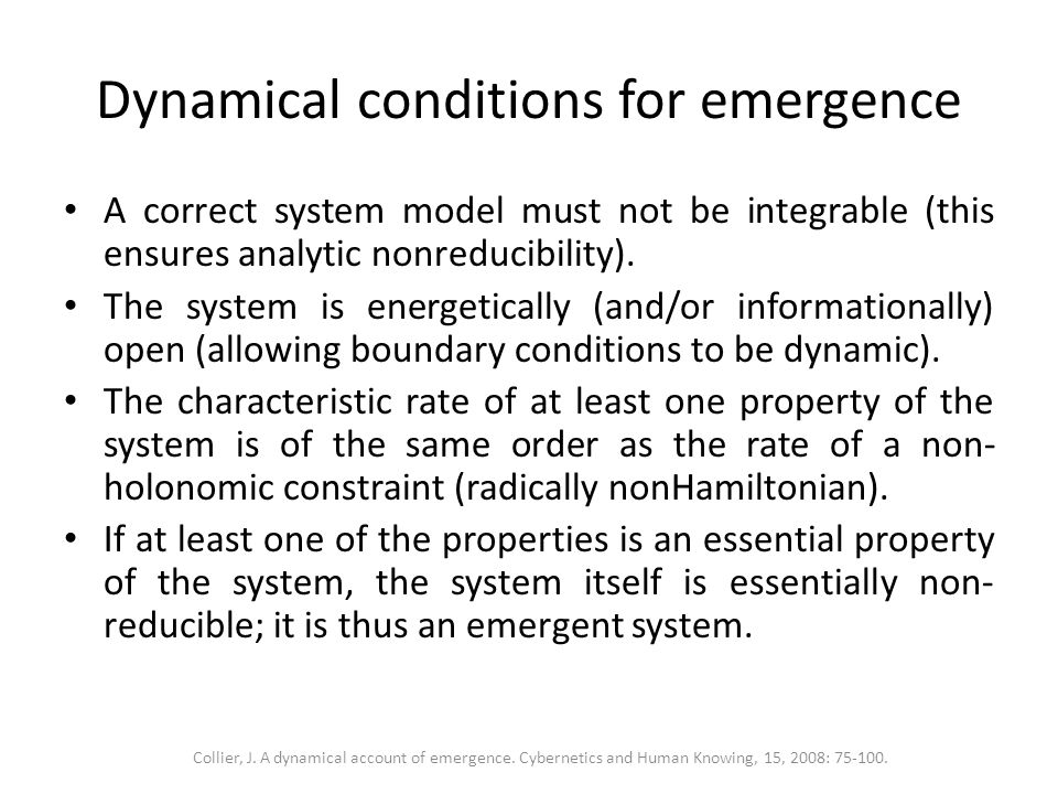Dynamical conditions for emergence A correct system model must not be integrable (this ensures analytic nonreducibility). The system is energetically