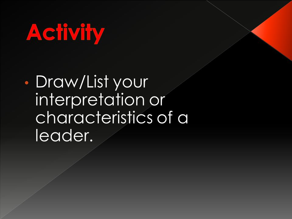 Draw/List your interpretation or characteristics of a leader.
