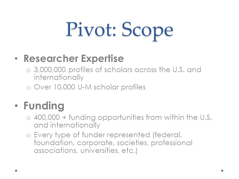 Pivot: Scope Researcher Expertise o 3,000,000 profiles of scholars across the U.S.