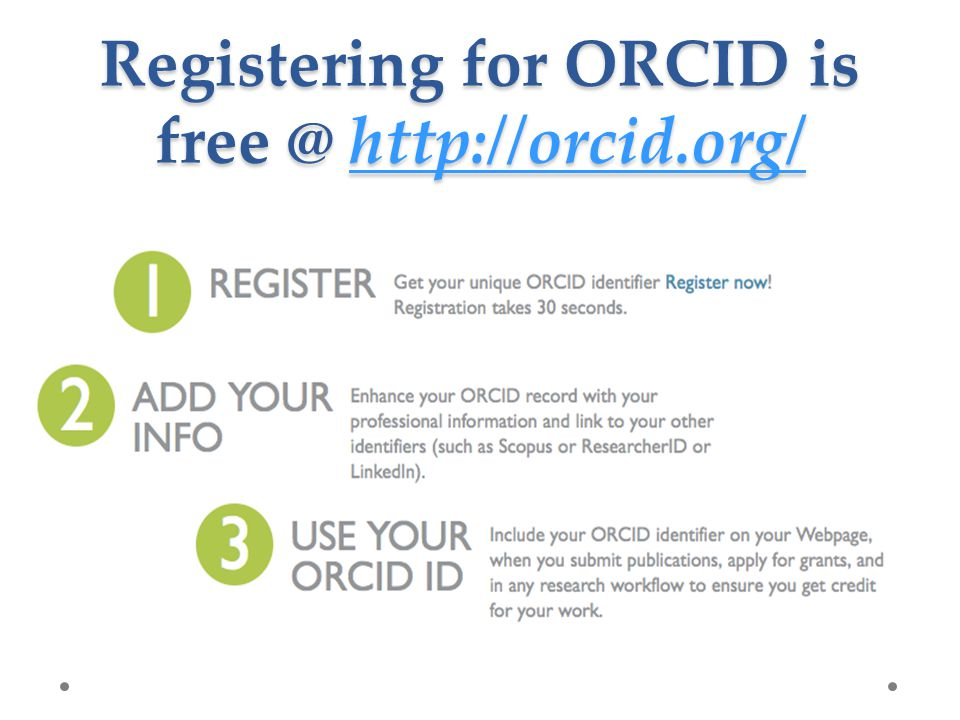 Registering for ORCID is free @ http://orcid.org/ http://orcid.org/