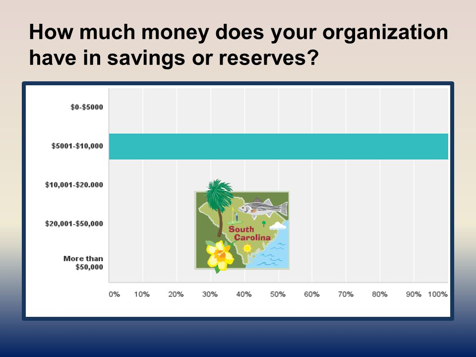 How much money does your organization have in savings or reserves?