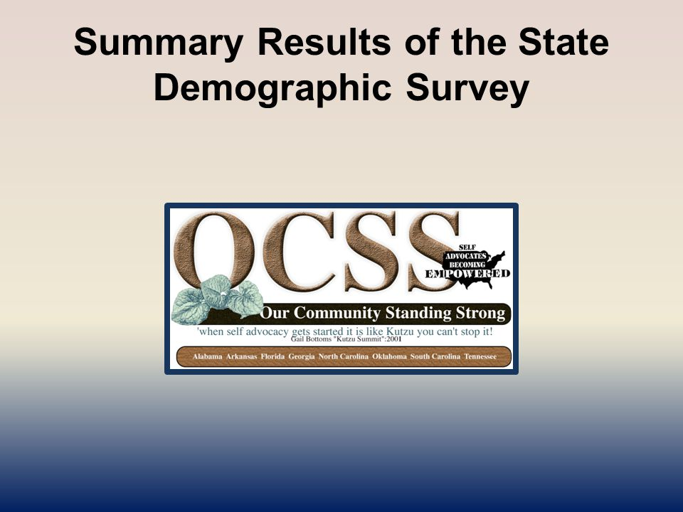 Summary Results of the State Demographic Survey