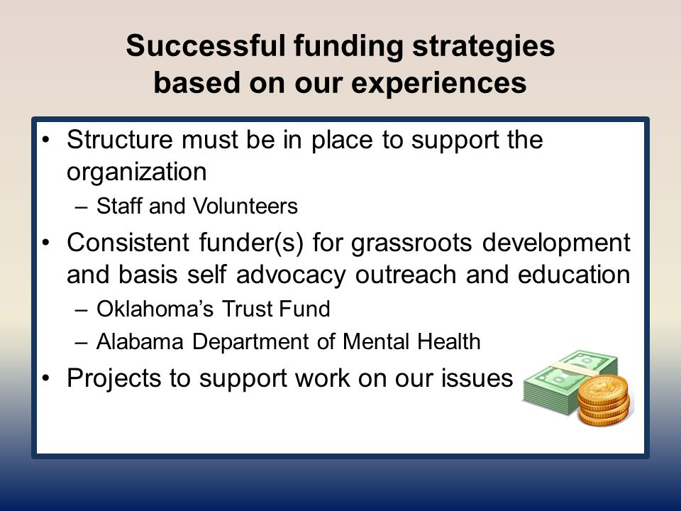 Successful funding strategies based on our experiences Structure must be in place to support the organization –Staff and Volunteers Consistent funder(s) for grassroots development and basis self advocacy outreach and education –Oklahoma's Trust Fund –Alabama Department of Mental Health Projects to support work on our issues