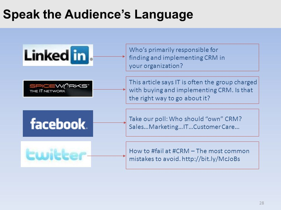 Click to edit Master title styleSpeak the Audience's Language 28 Who's primarily responsible for finding and implementing CRM in your organization.