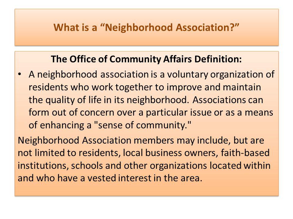 The 7 Major Neighborhood Association Board Responsibilities 1.Planning for the organization.