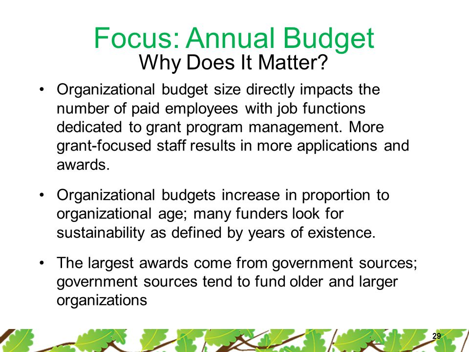 Focus: Annual Budget 29 Organizational budget size directly impacts the number of paid employees with job functions dedicated to grant program managem