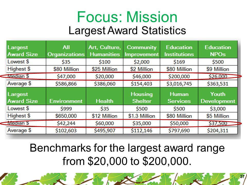 Focus: Mission 37 Largest Award Statistics Benchmarks for the largest award range from $20,000 to $200,000.