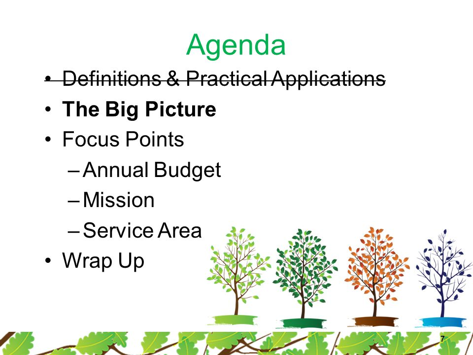 Agenda Definitions & Practical Applications The Big Picture Focus Points –Annual Budget –Mission –Service Area Wrap Up 7