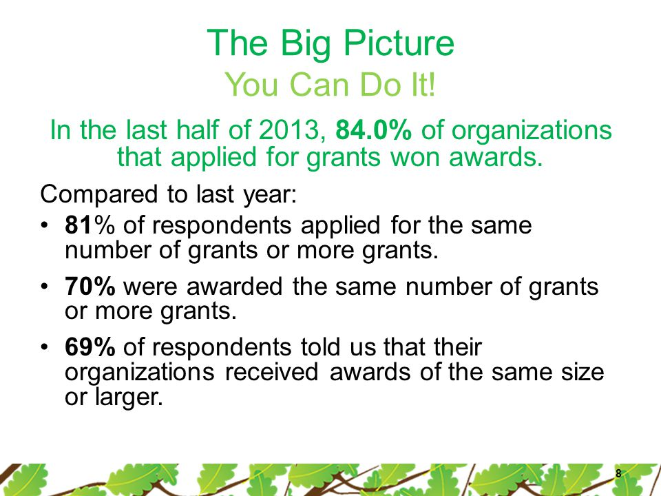 The Big Picture You Can Do It! In the last half of 2013, 84.0% of organizations that applied for grants won awards. Compared to last year: 81% of resp