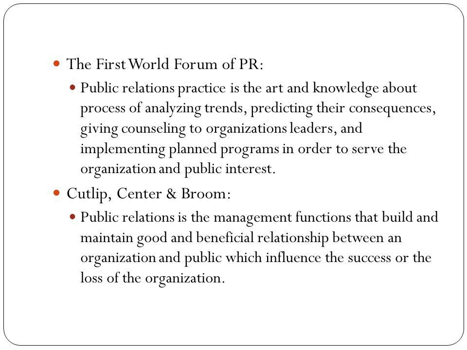 Important concepts in PR definitions PUBLIC RELATIONS PR GOALS FUNCTIONS PR MEDIA (PR TOOLS) PR WRITING PR WORKING AREAS