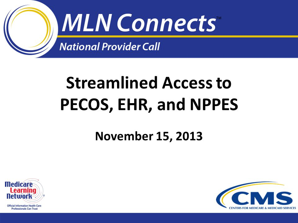 Streamlined Access to PECOS, EHR, and NPPES November 15, 2013