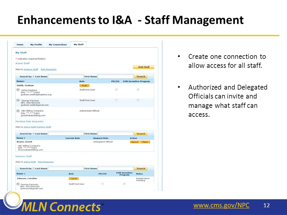 Enhancements to I&A - Staff Management Create one connection to allow access for all staff.