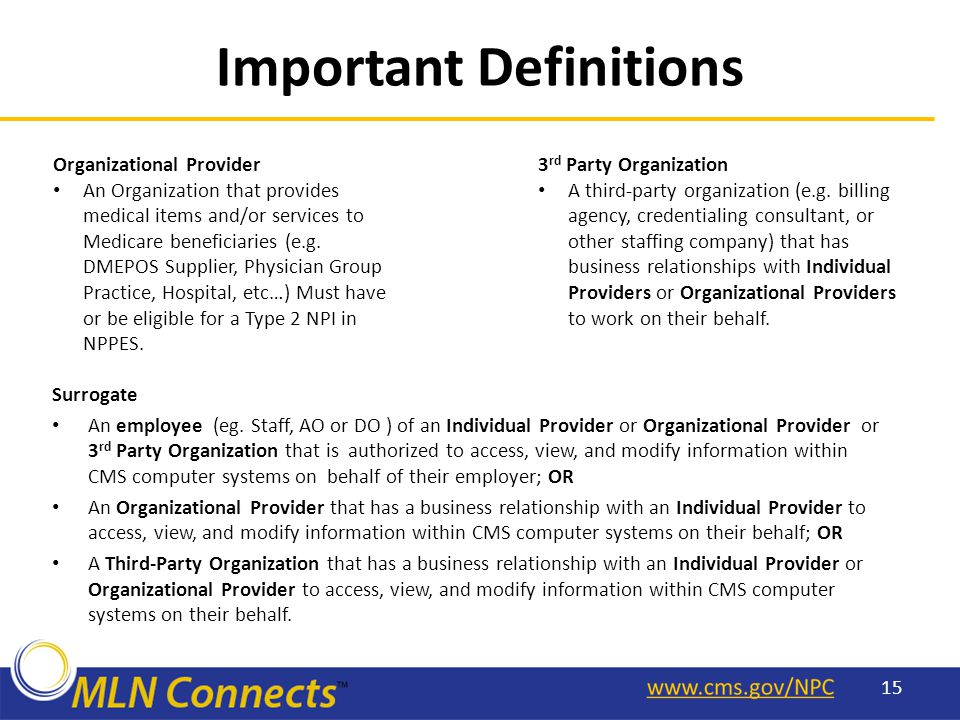 Important Definitions Surrogate An employee (eg.
