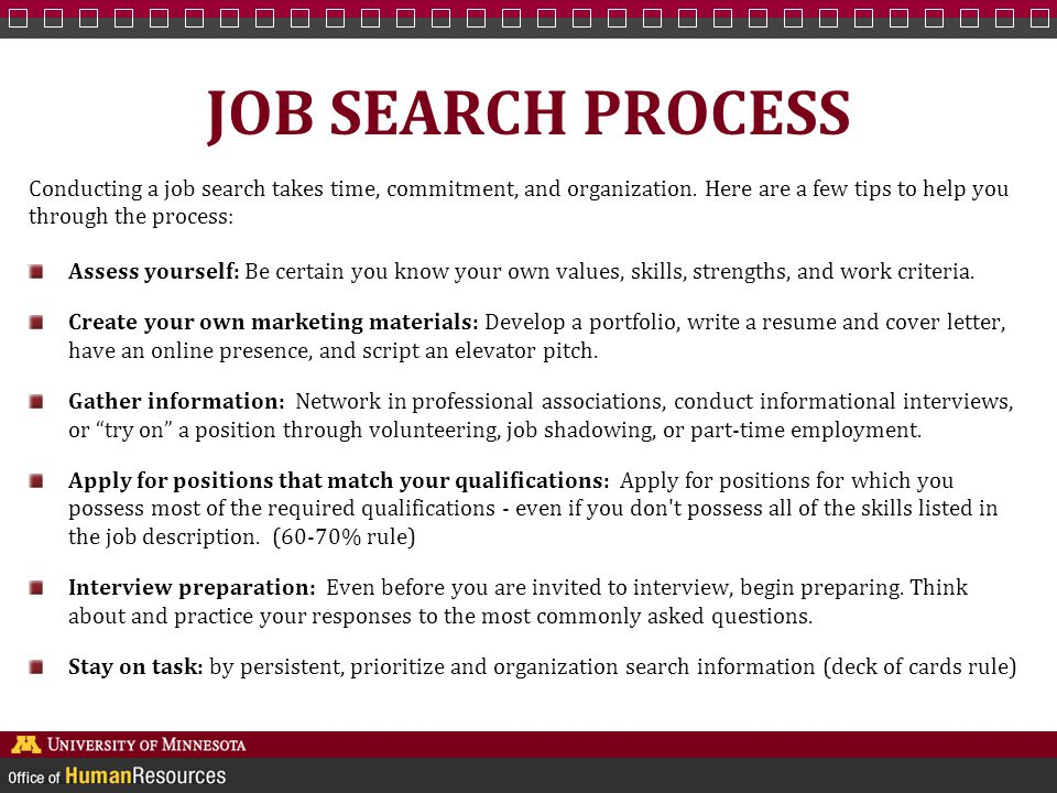 JOB SEARCH PROCESS Conducting a job search takes time, commitment, and organization.
