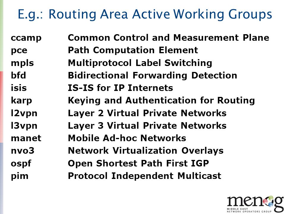 E.g.: Routing Area Active Working Groups ccamp Common Control and Measurement Plane pce Path Computation Element mpls Multiprotocol Label Switching bf