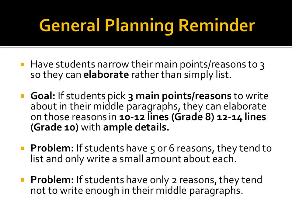  Encourage students to add a variety of support forms to their detail paragraphs.