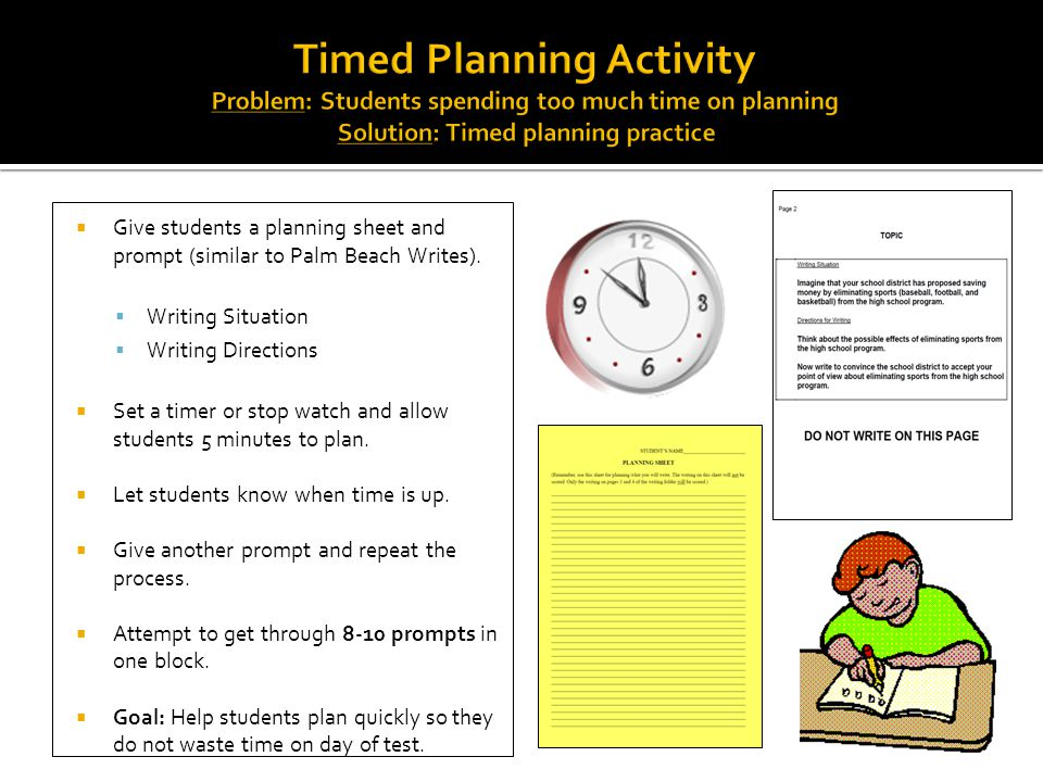  Give students a planning sheet and prompt (similar to Palm Beach Writes).  Writing Situation  Writing Directions  Set a timer or stop watch and a