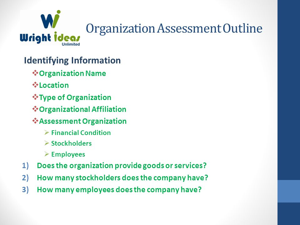 Organization Assessment Outline Identifying Information  Organization Name  Location  Type of Organization  Organizational Affiliation  Assessment Organization  Financial Condition  Stockholders  Employees 1)Does the organization provide goods or services.