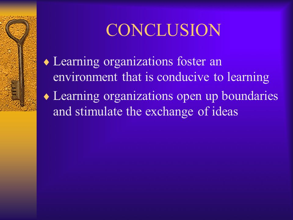 CONCLUSION  Learning organizations foster an environment that is conducive to learning  Learning organizations open up boundaries and stimulate the exchange of ideas