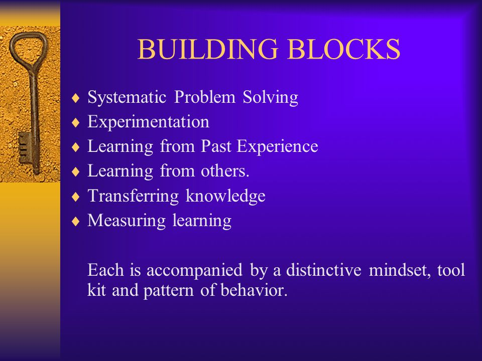 BUILDING BLOCKS  Systematic Problem Solving  Experimentation  Learning from Past Experience  Learning from others.