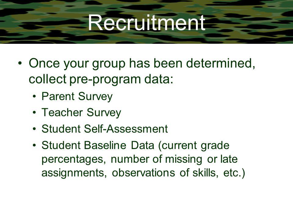Recruitment Once your group has been determined, collect pre-program data: Parent Survey Teacher Survey Student Self-Assessment Student Baseline Data