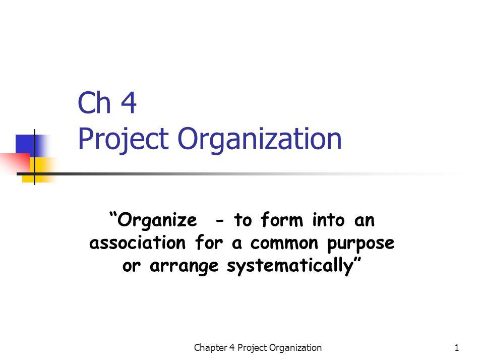 Chapter 4 Project Organization12 Matrix Organization PM1 PM2 PM3 ManufacturingProgram ManagerR&DMarketing President