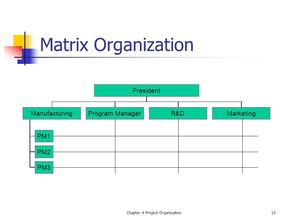 Chapter 4 Project Organization12 Matrix Organization PM1 PM2 PM3 ManufacturingProgram ManagerR&DMarketing President