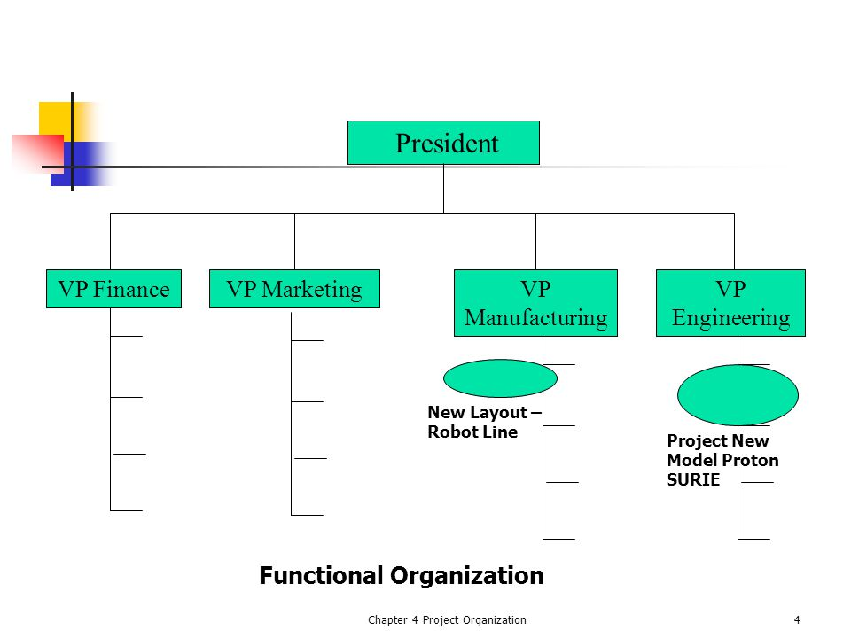 Chapter 4 Project Organization4 President VP FinanceVP MarketingVP Manufacturing VP Engineering Functional Organization Project New Model Proton SURIE New Layout – Robot Line