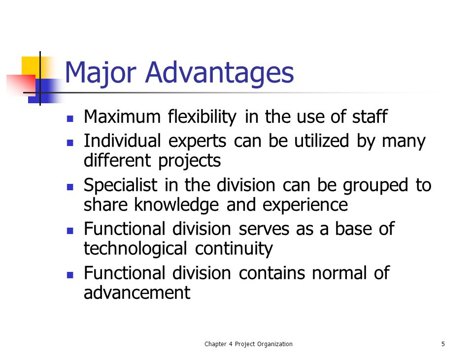 Chapter 4 Project Organization5 Major Advantages Maximum flexibility in the use of staff Individual experts can be utilized by many different projects Specialist in the division can be grouped to share knowledge and experience Functional division serves as a base of technological continuity Functional division contains normal of advancement