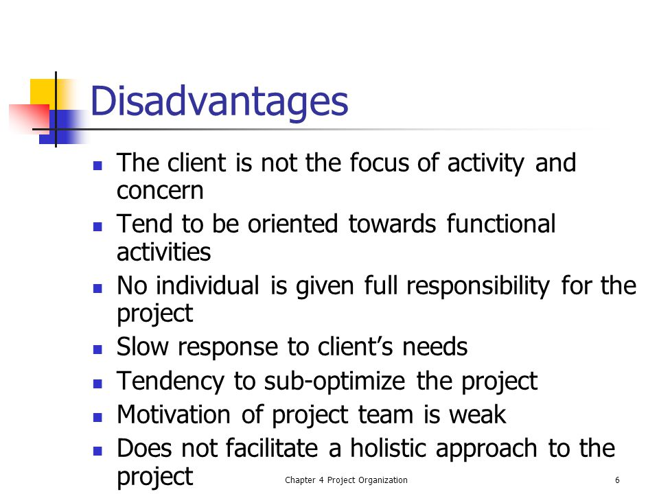 Chapter 4 Project Organization7 Pure Project Organization Project is separated from the rest of the parent system Becomes self contained unit